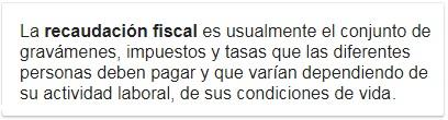 recaudacion fiscal, definicion