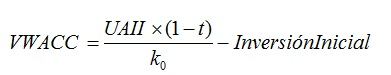 Valoracion segun el metodo descontando al WACC